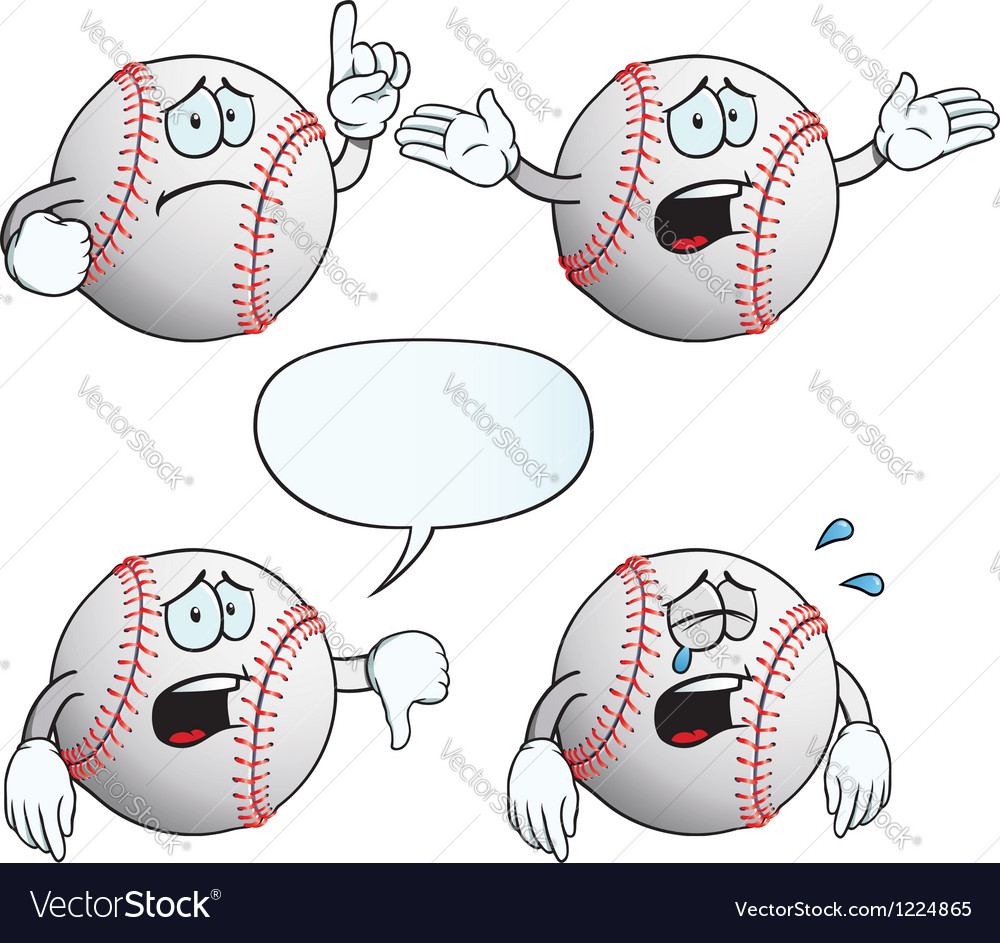 Crying baseball set vector | Price: 1 Credit (USD $1)