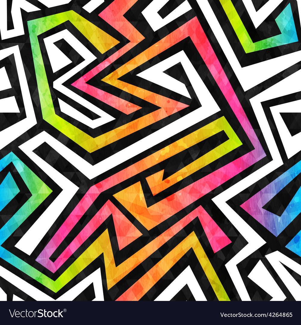 Graffiti maze seamless pattern with grunge effect vector   Price: 1 Credit (USD $1)