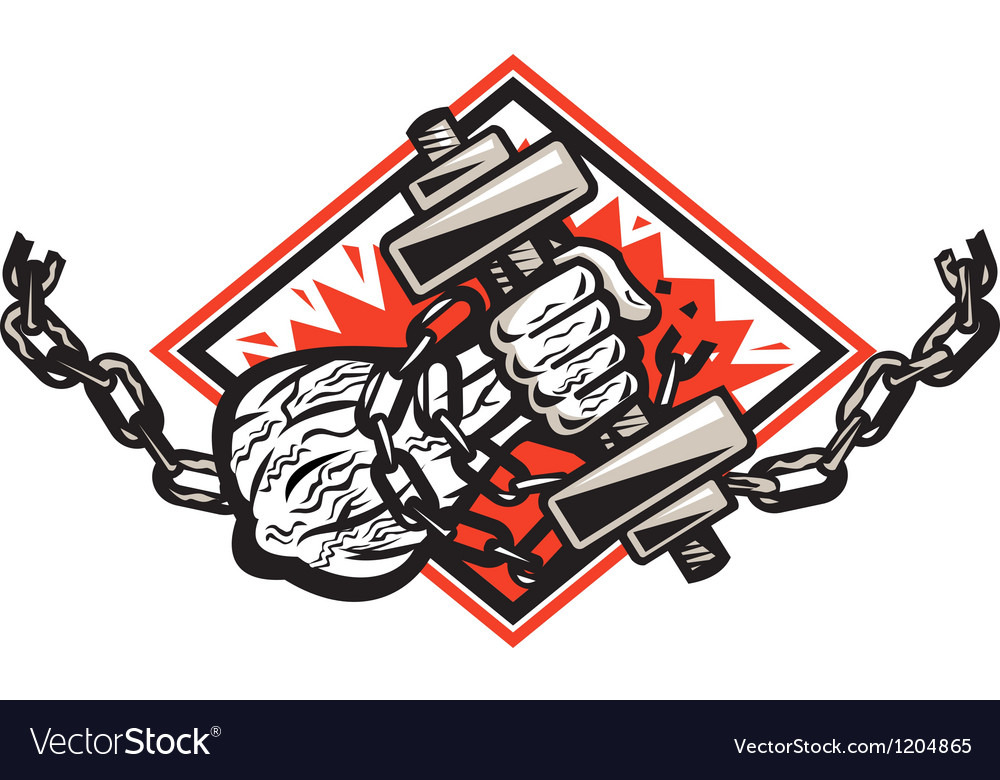 Hand bursting with dumbbell in chains vector | Price: 3 Credit (USD $3)