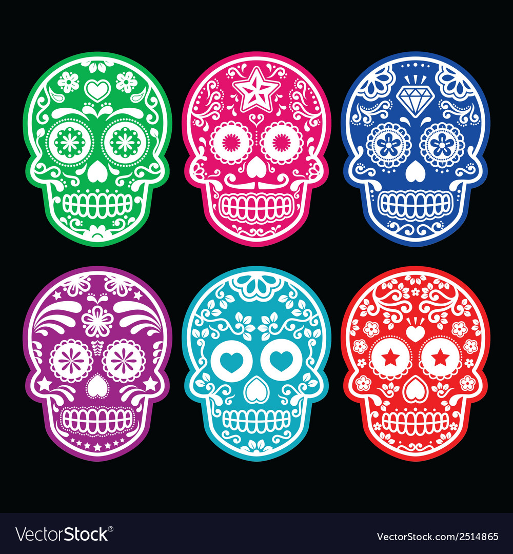 Mexican sugar skull icons set colour black bg vector | Price: 1 Credit (USD $1)