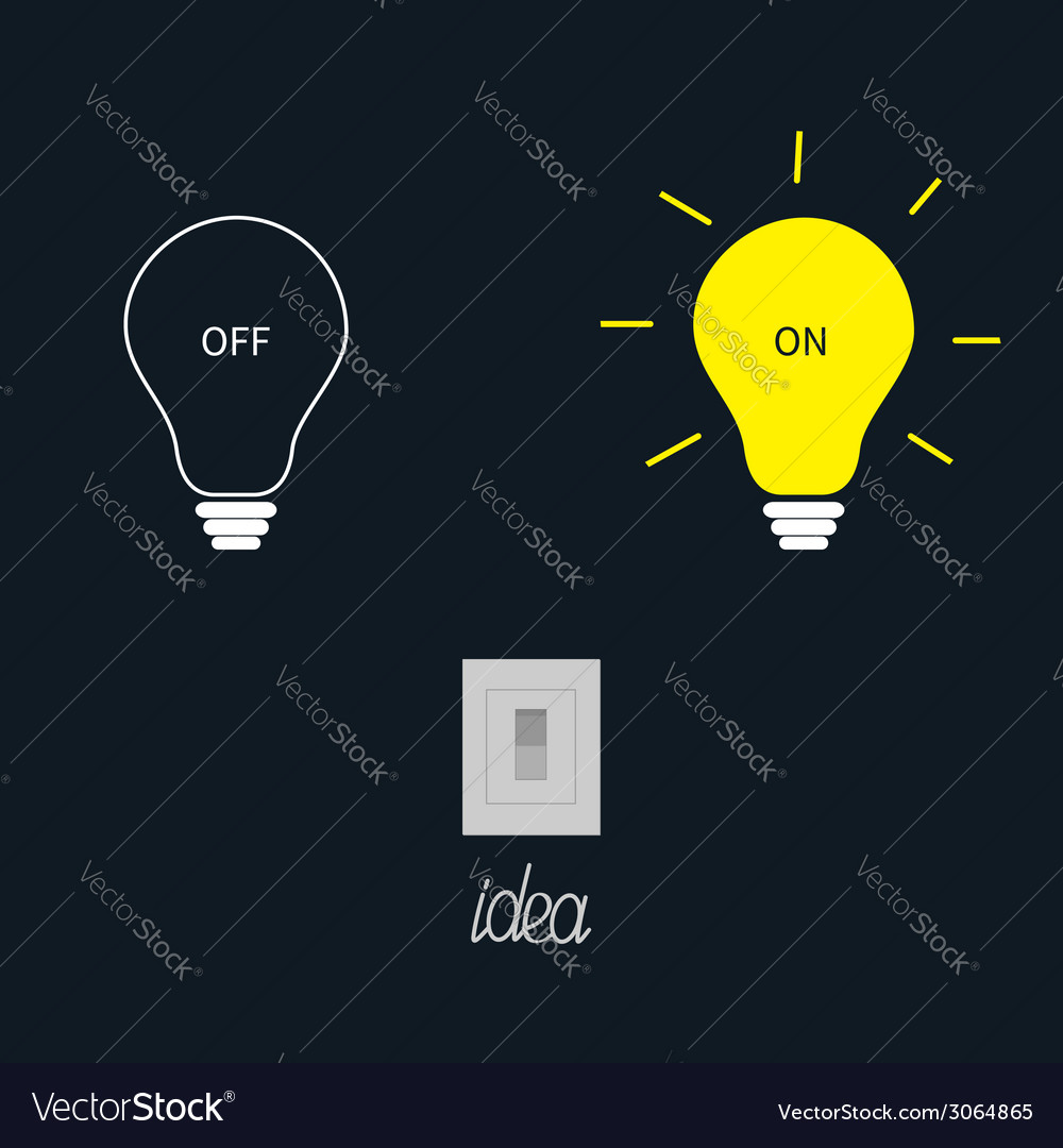 On and off light bulbs with tumbler switch idea vector | Price: 1 Credit (USD $1)