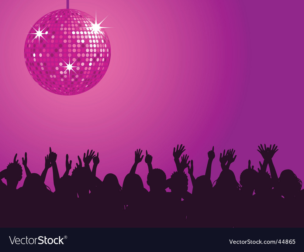 Purple disco ball and crowd vector | Price: 1 Credit (USD $1)
