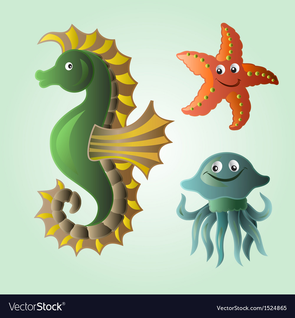Set of funny sea animals vector | Price: 3 Credit (USD $3)