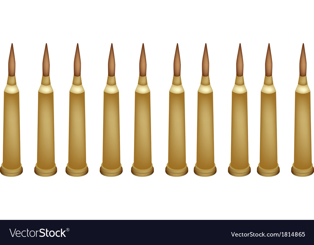Set of rifle bullets on white background vector | Price: 1 Credit (USD $1)
