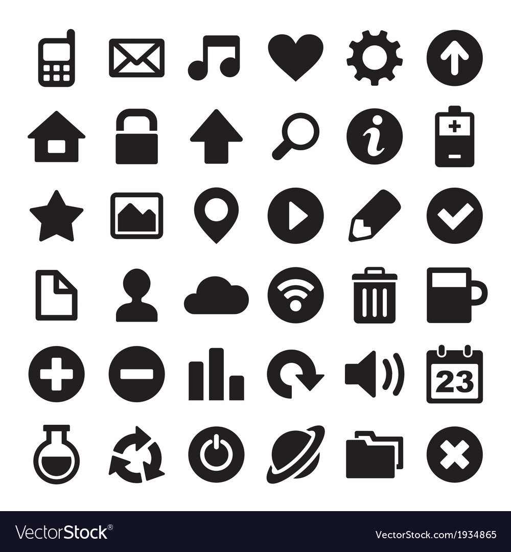 Universal simple web icons set vector | Price: 1 Credit (USD $1)