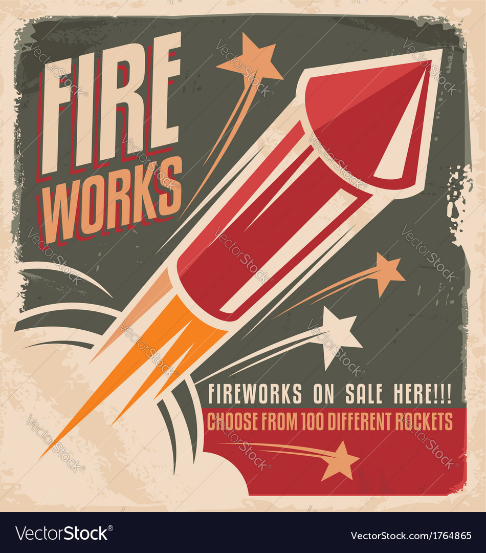Vintage fireworks poster design vector | Price: 1 Credit (USD $1)