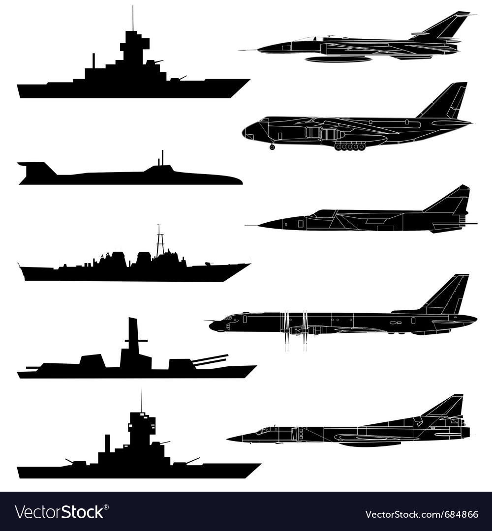 A set of military aircraft ships and submarines vector | Price: 1 Credit (USD $1)