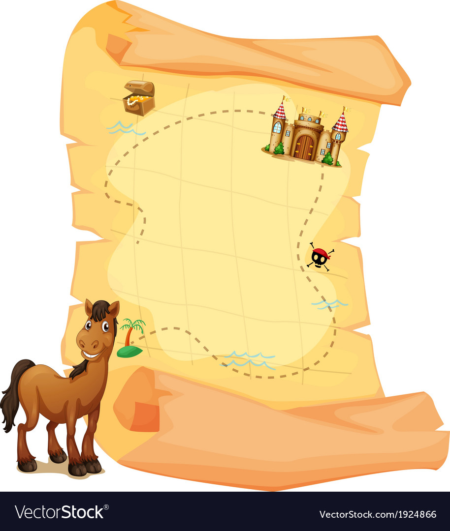A treasure map and a smiling brown horse vector | Price: 1 Credit (USD $1)