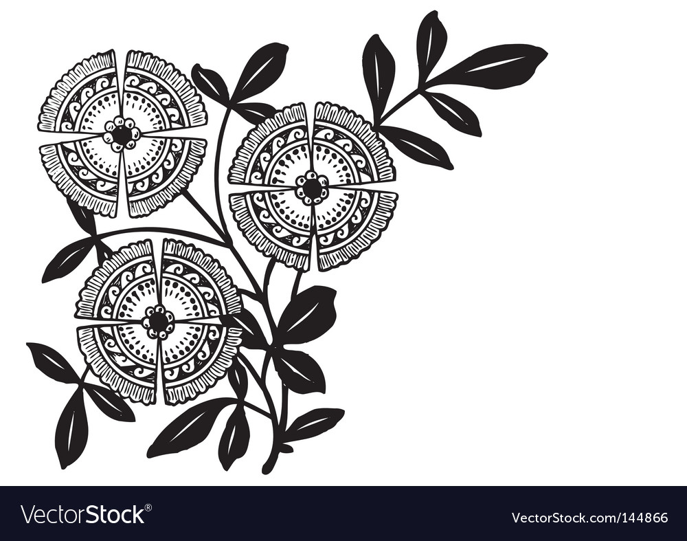 Antique floral corner engraving vector | Price: 1 Credit (USD $1)
