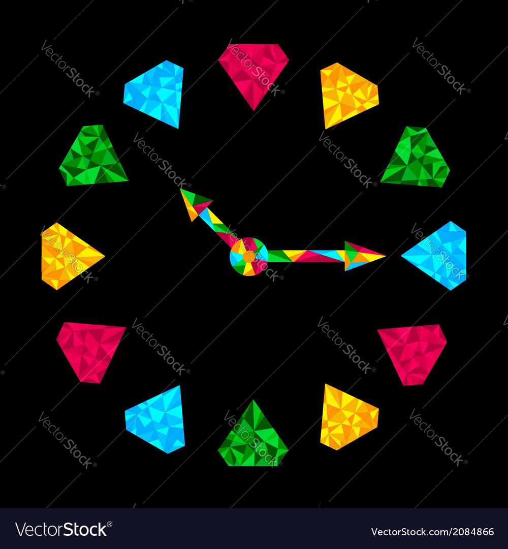 Colorful diamond clock vector | Price: 1 Credit (USD $1)