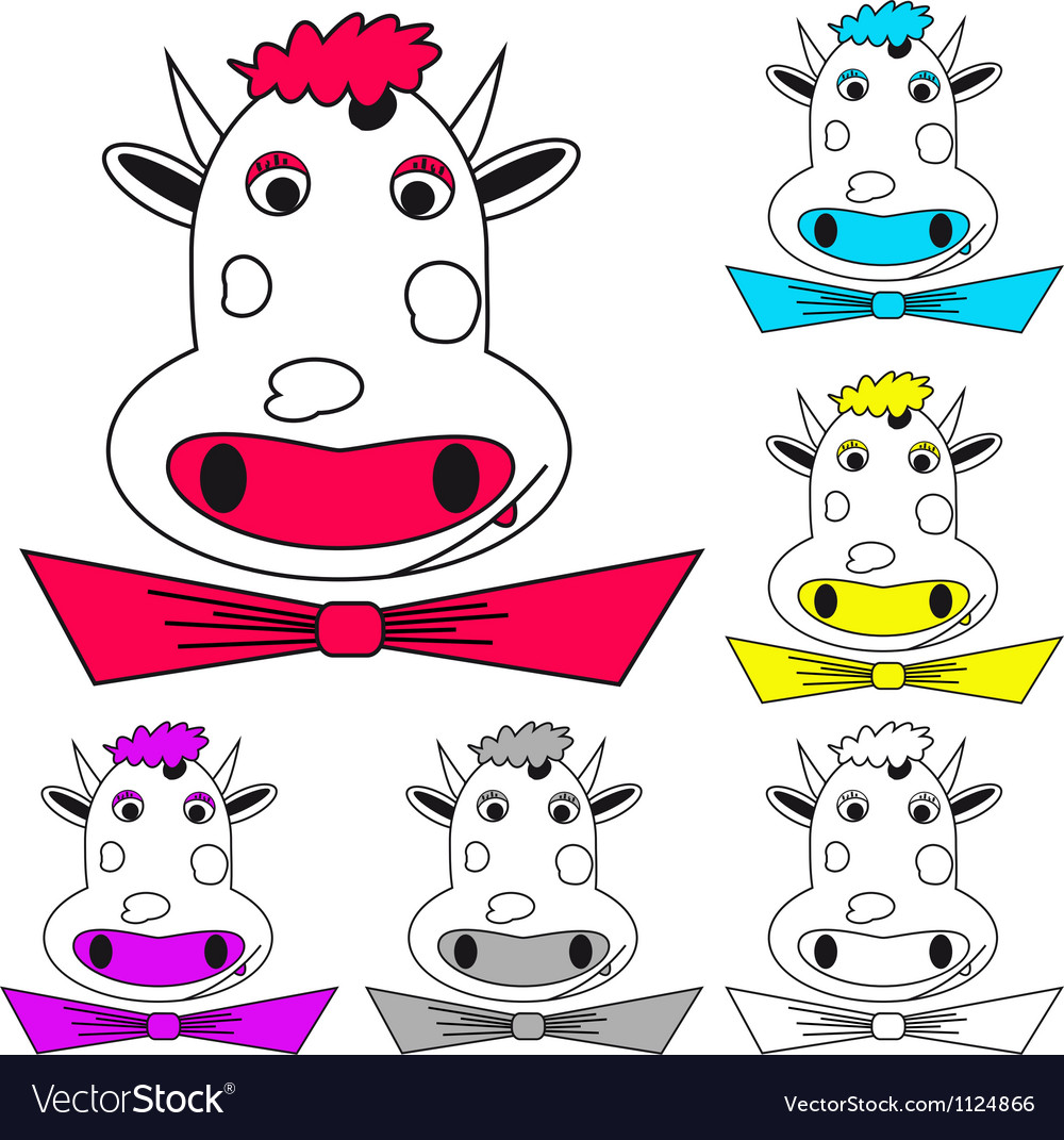 Funny cow on white coloring book vector | Price: 1 Credit (USD $1)