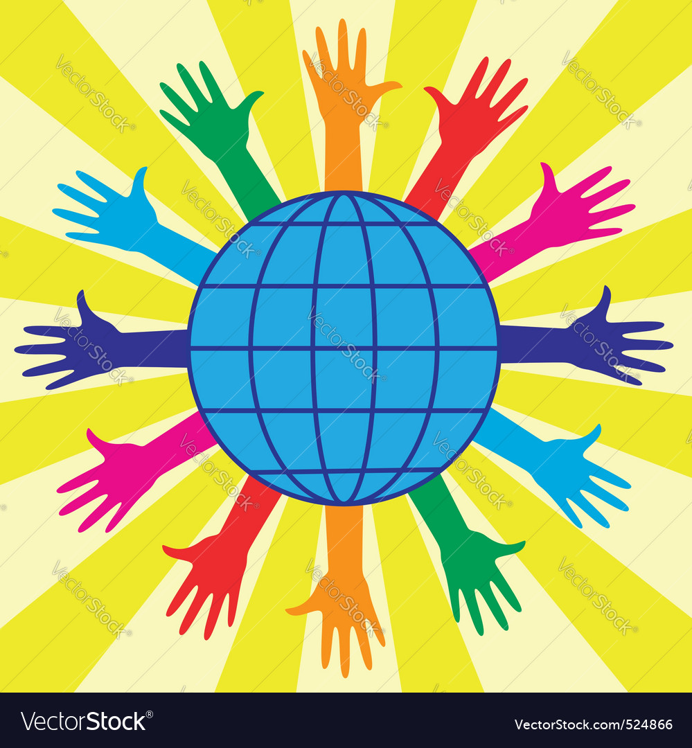 Hands and world globe vector | Price: 1 Credit (USD $1)