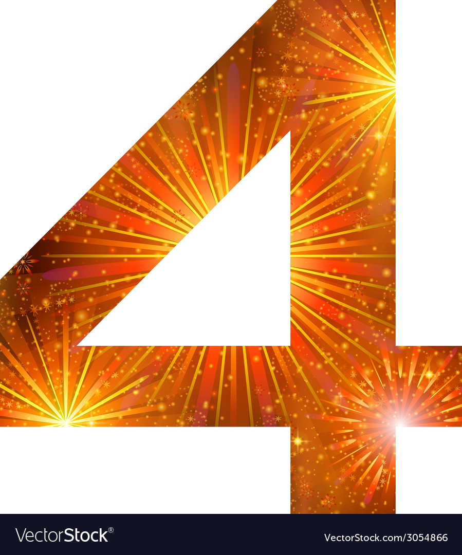 Number of orange firework four vector | Price: 1 Credit (USD $1)