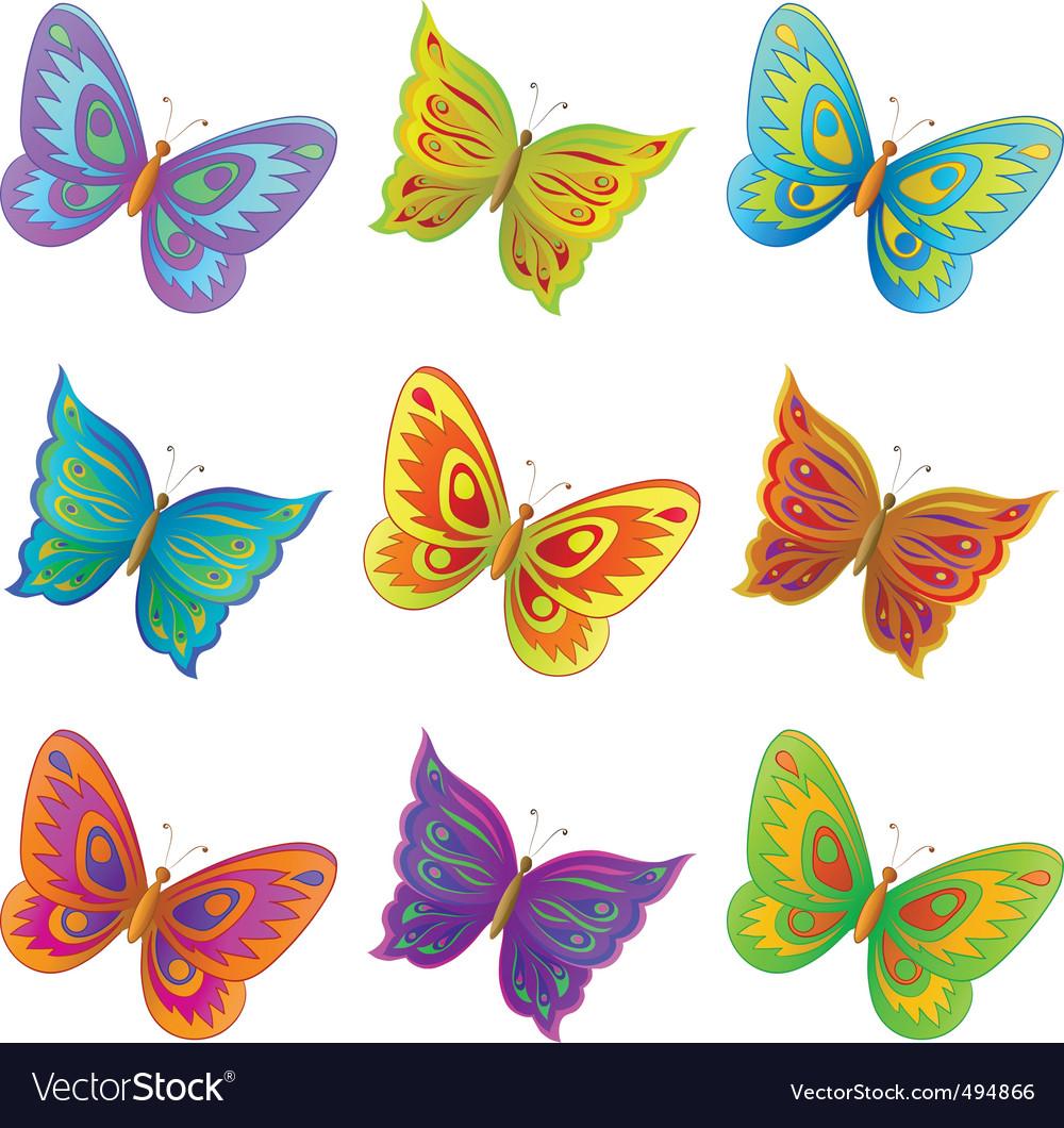 Set butterflies vector | Price: 1 Credit (USD $1)