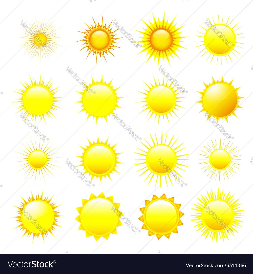 Set of orange and yellow sun vector | Price: 1 Credit (USD $1)