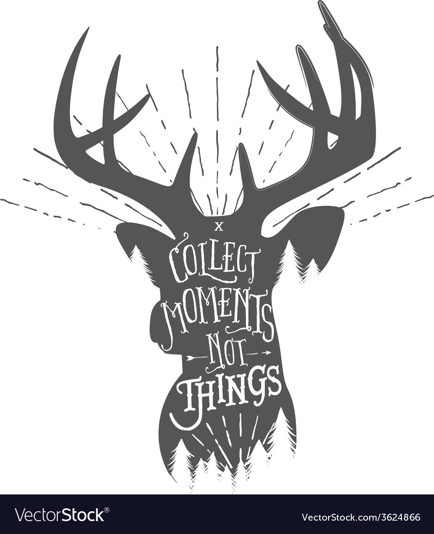 Vintage with wilderness quote on deer vector | Price: 1 Credit (USD $1)