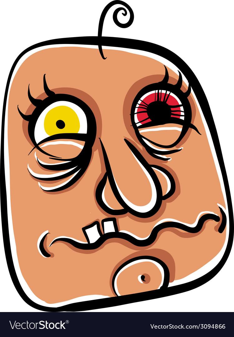 Wierd cartoon face absolute crazy numskull vector | Price: 1 Credit (USD $1)