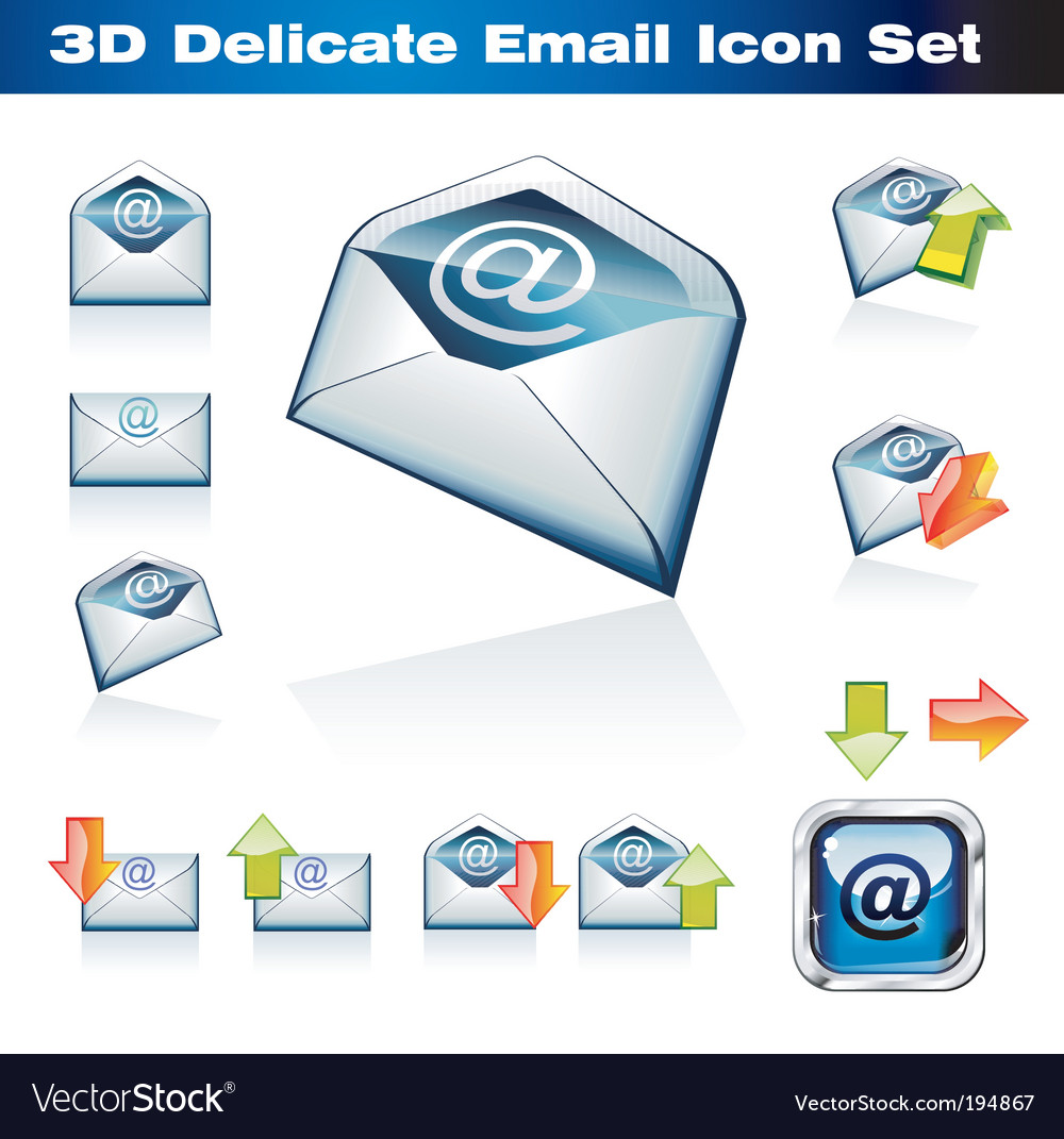 3d email icon set vector | Price: 3 Credit (USD $3)