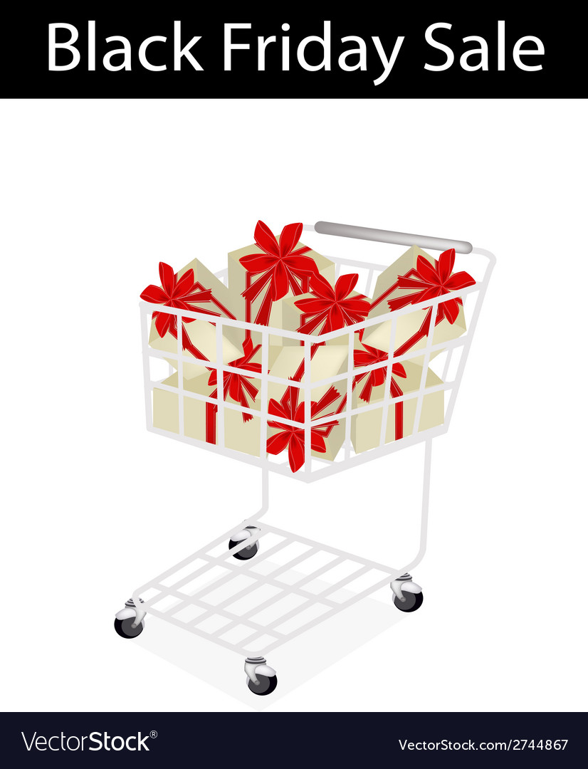 A shopping cart on black friday label vector | Price: 1 Credit (USD $1)