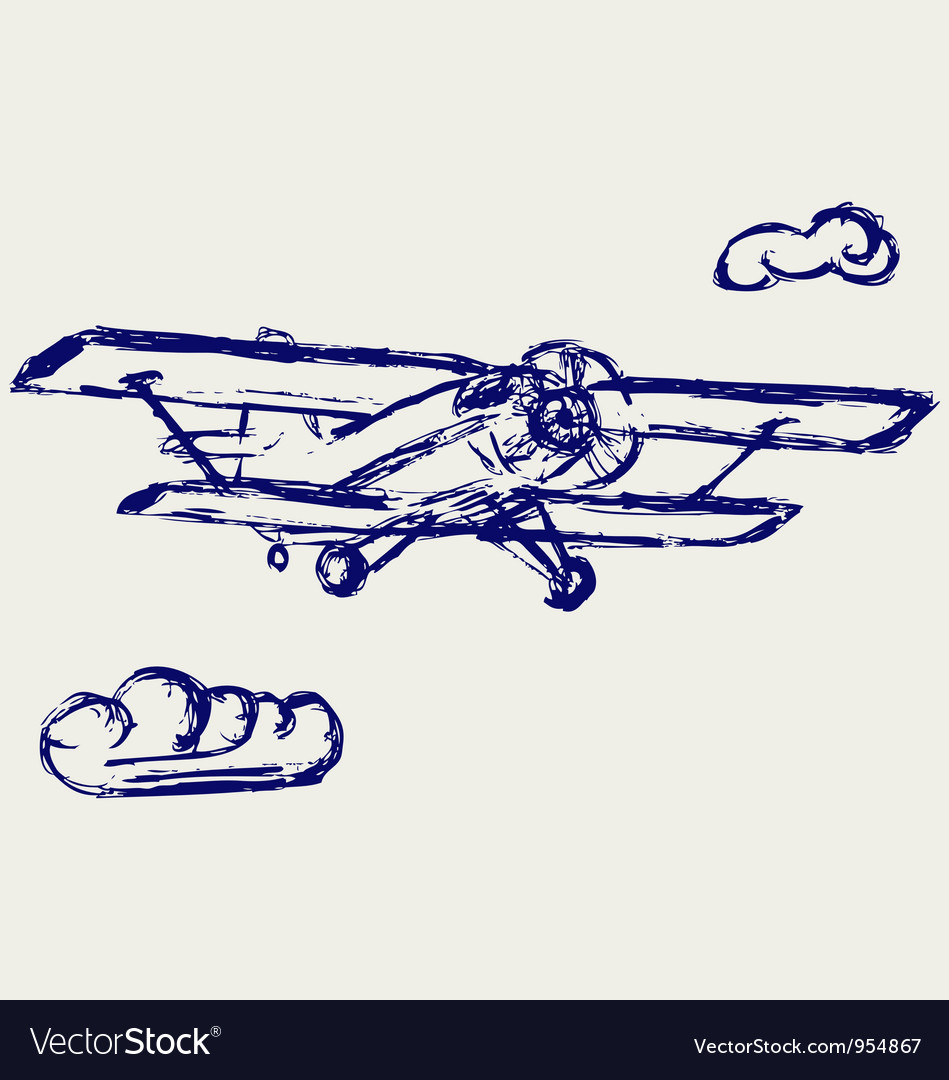 Airplane sketch vector | Price: 1 Credit (USD $1)