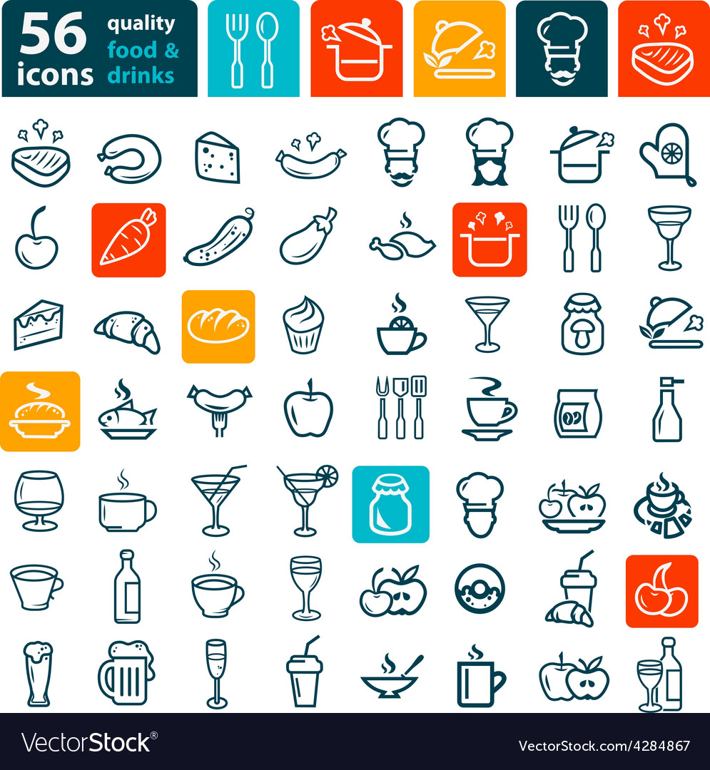 Big food icon set vector | Price: 1 Credit (USD $1)