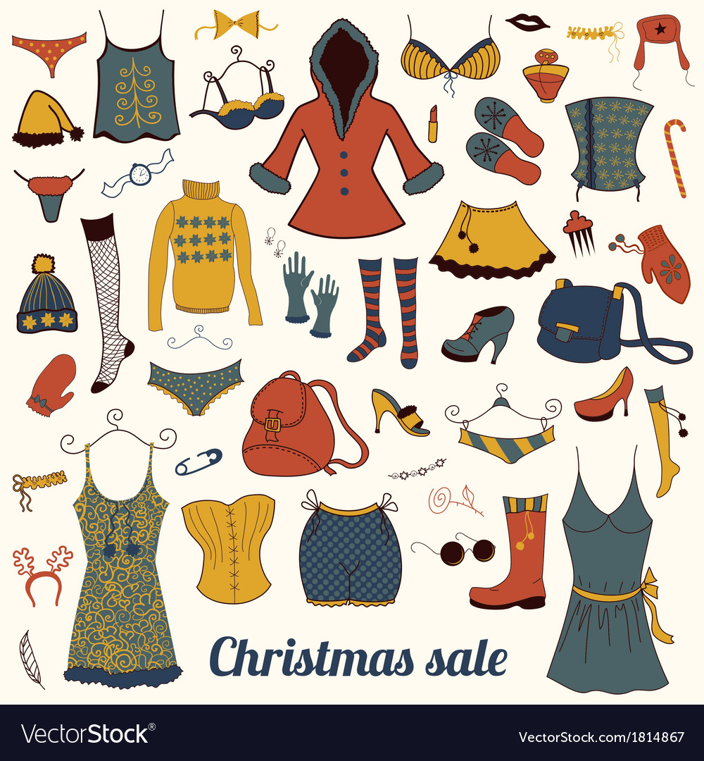 Christmas clothes set vector | Price: 1 Credit (USD $1)