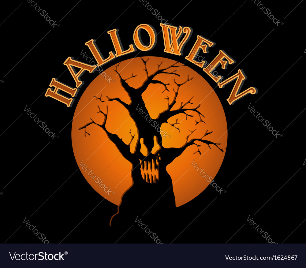 Halloween text spooky tree over orange moon eps10 vector | Price: 1 Credit (USD $1)