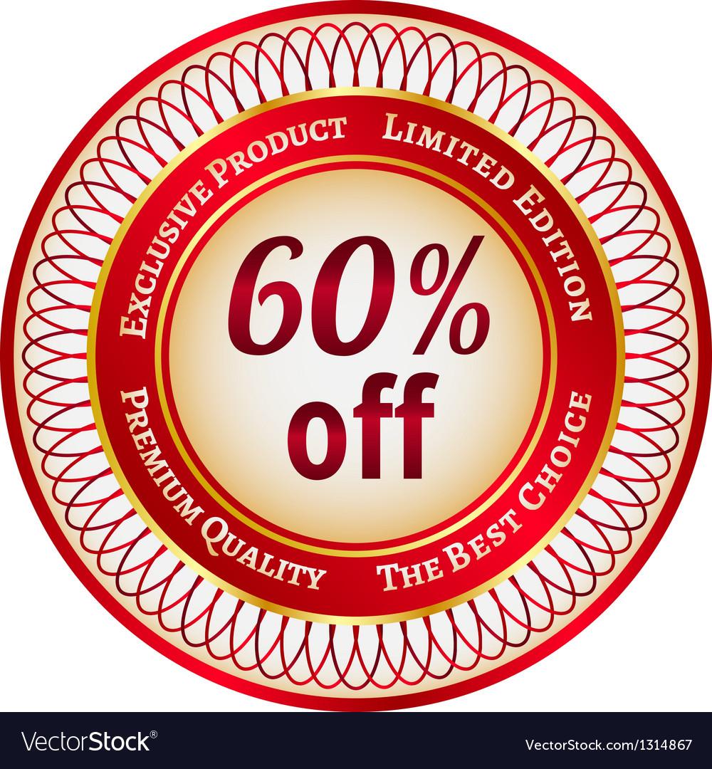 Label on 60 percent discount vector   Price: 1 Credit (USD $1)