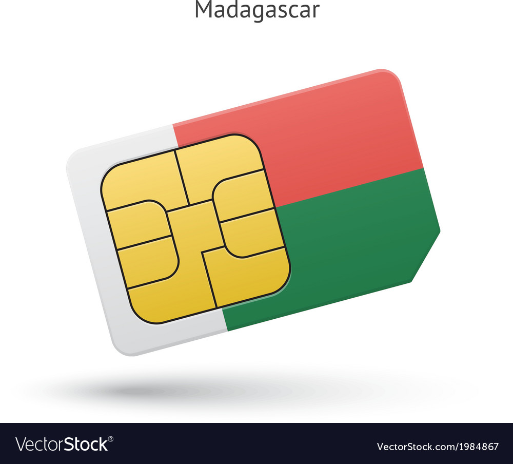 Madagascar mobile phone sim card with flag vector | Price: 1 Credit (USD $1)