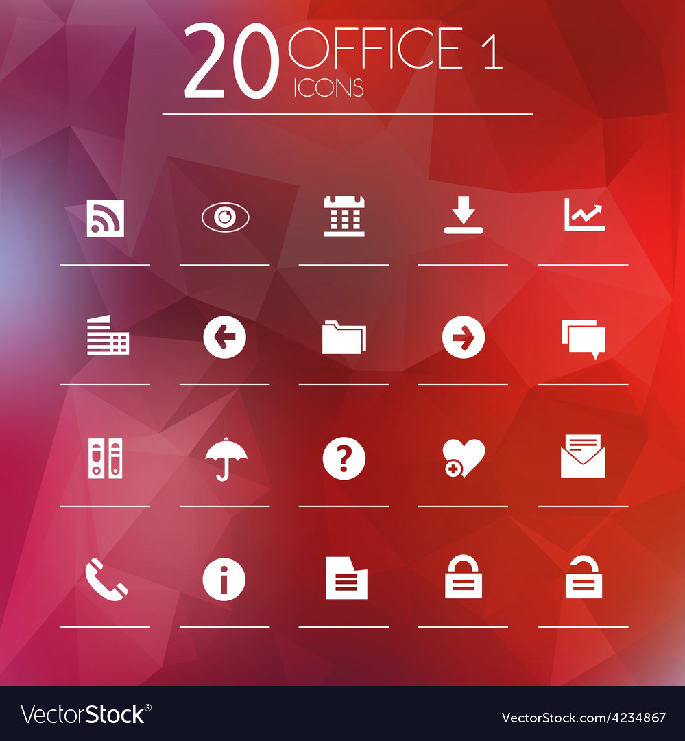 Office 1 icons on blurred background vector | Price: 1 Credit (USD $1)