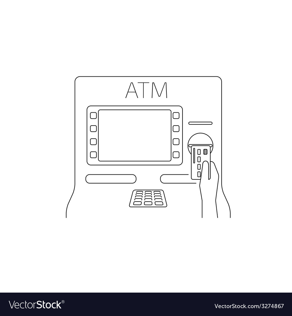 Payment by credit card via atm vector | Price: 1 Credit (USD $1)