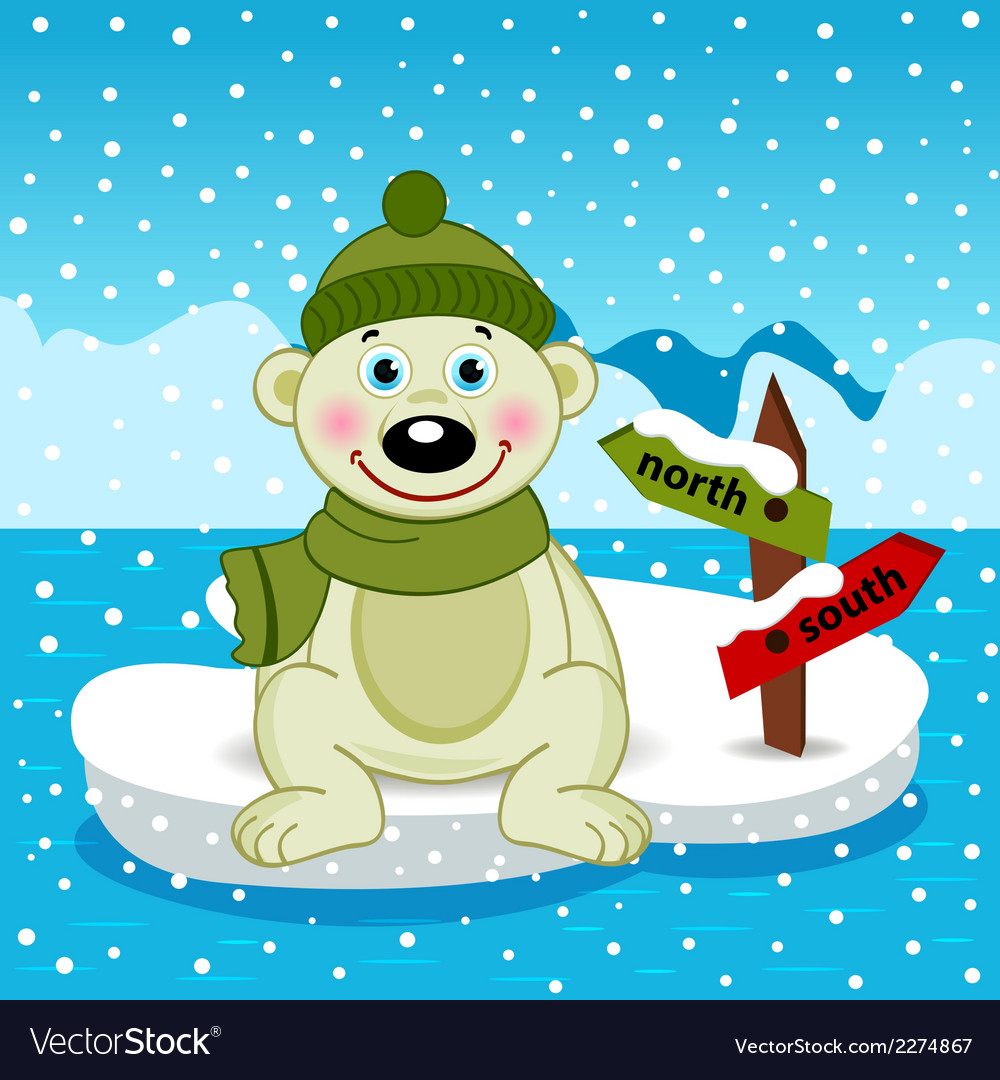 Polar bear on ice floe vector | Price: 1 Credit (USD $1)