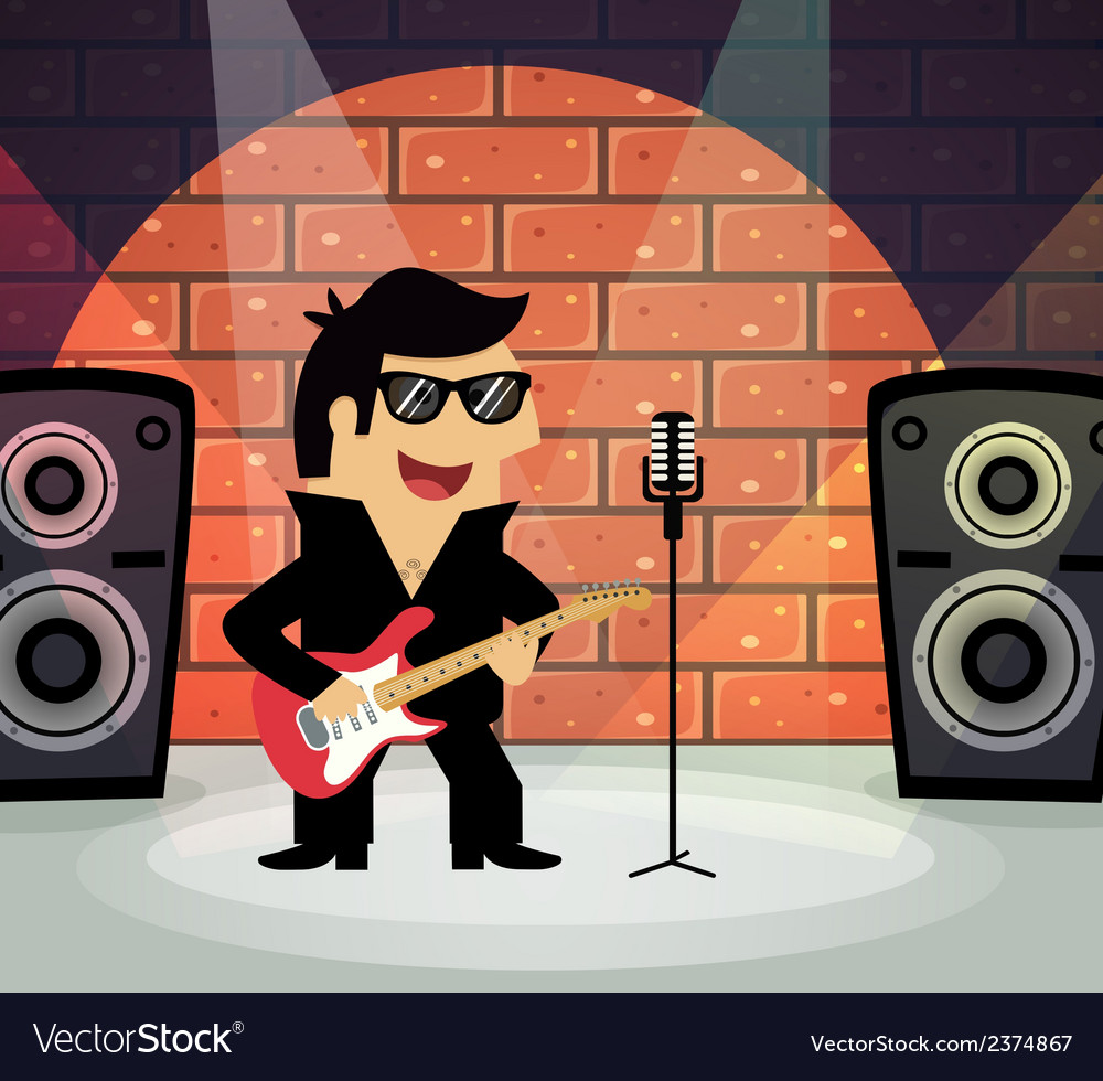 Rock star on stage vector | Price: 1 Credit (USD $1)