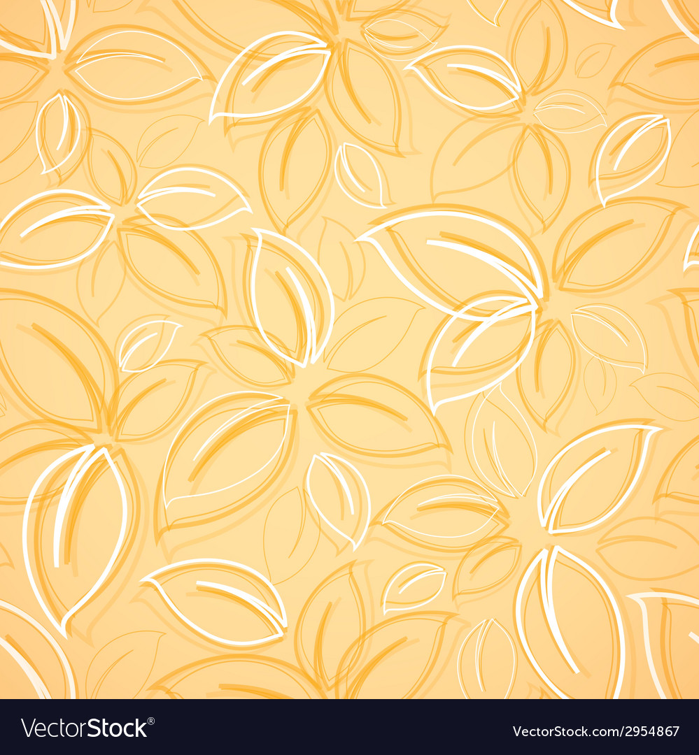 Seamless background with yellow leaves vector | Price: 1 Credit (USD $1)