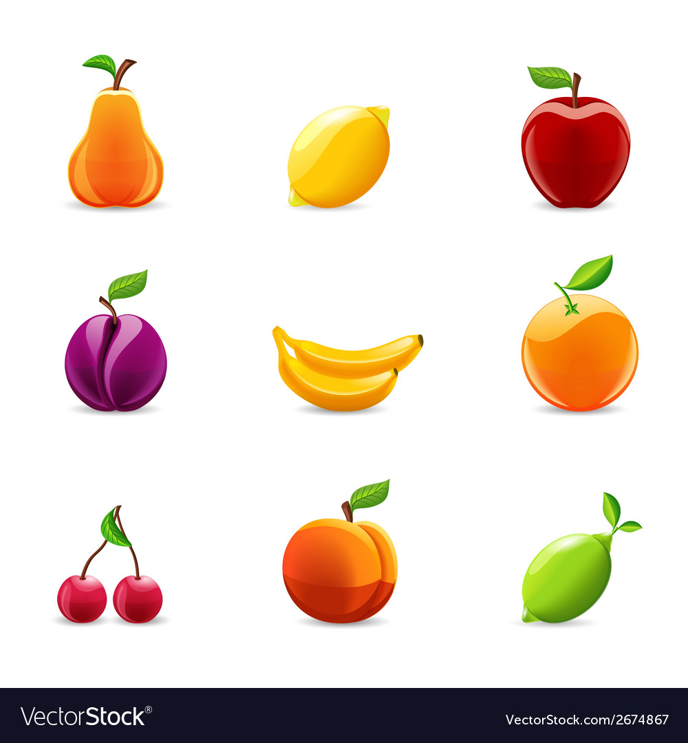 Set of fruits icons vector | Price: 3 Credit (USD $3)