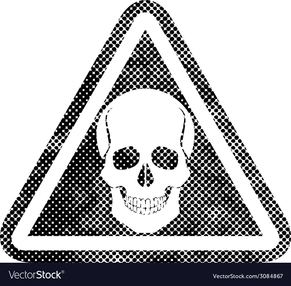 Skull warning sign with pixel print halftone dots vector | Price: 1 Credit (USD $1)