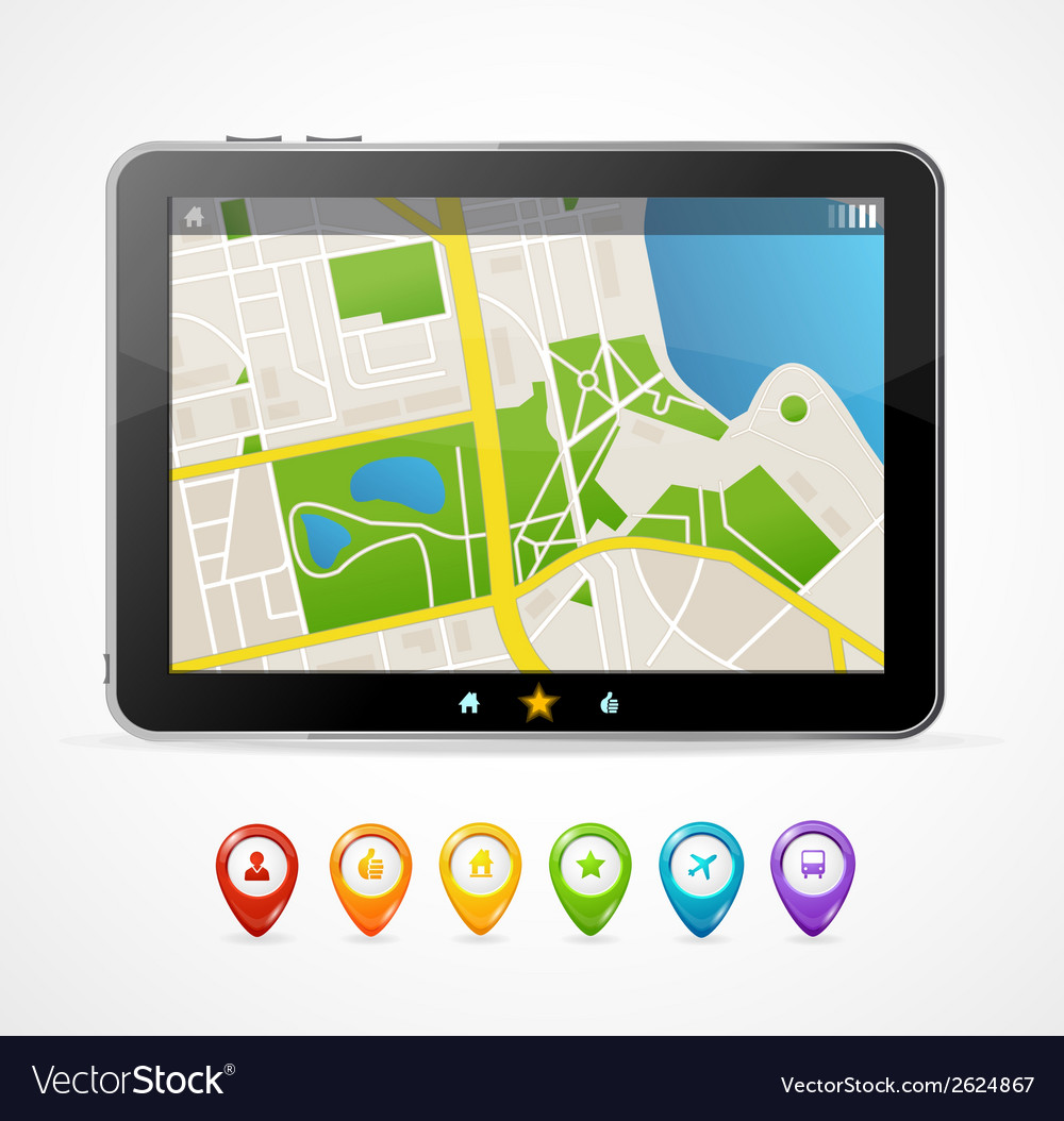 Tablet map navigation set infographics vector | Price: 1 Credit (USD $1)