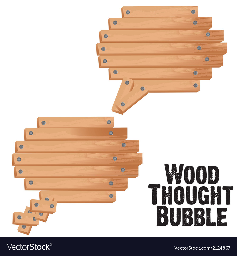 Text bubbles with wood plank vector | Price: 1 Credit (USD $1)