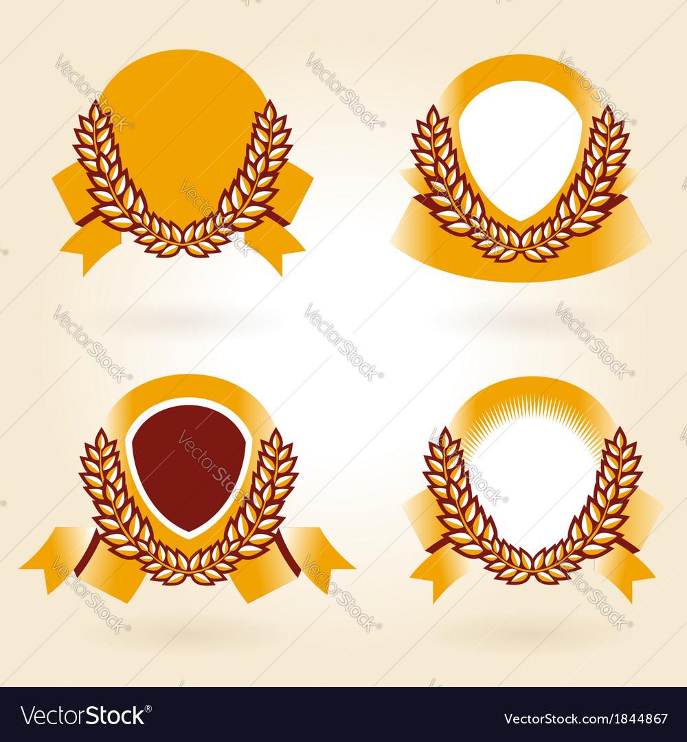 Wheat spike element design set vector | Price: 1 Credit (USD $1)