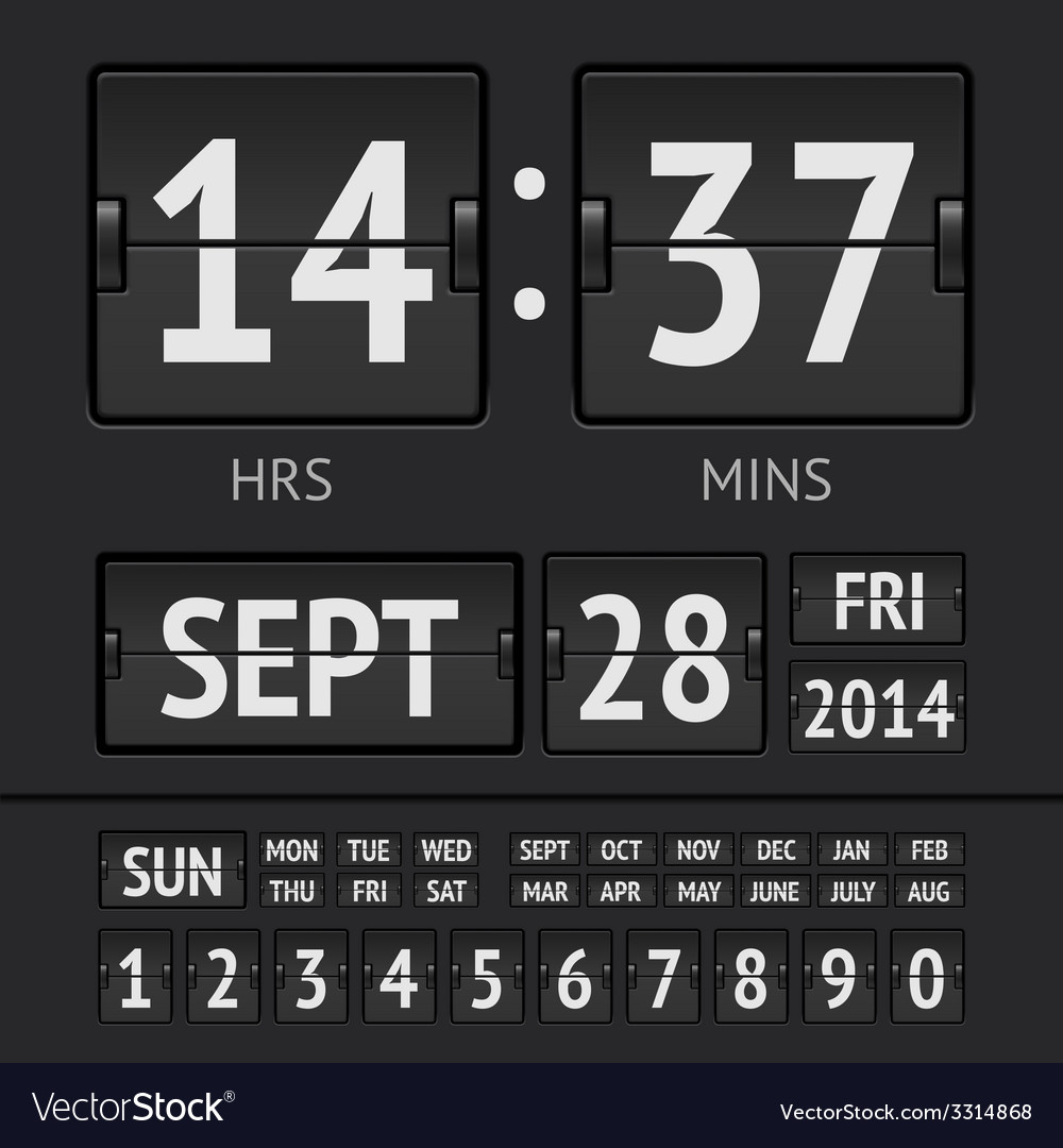 Analog black scoreboard digital week timer vector | Price: 1 Credit (USD $1)