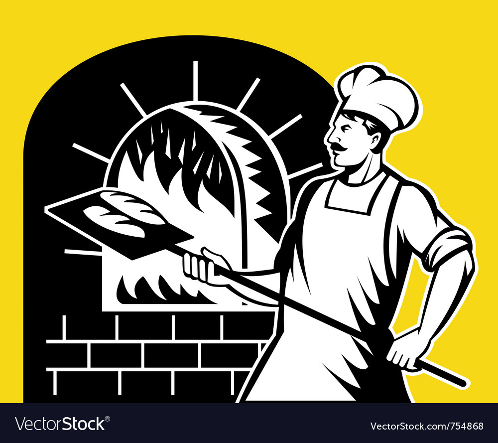 Baker holding baking pan vector | Price: 1 Credit (USD $1)