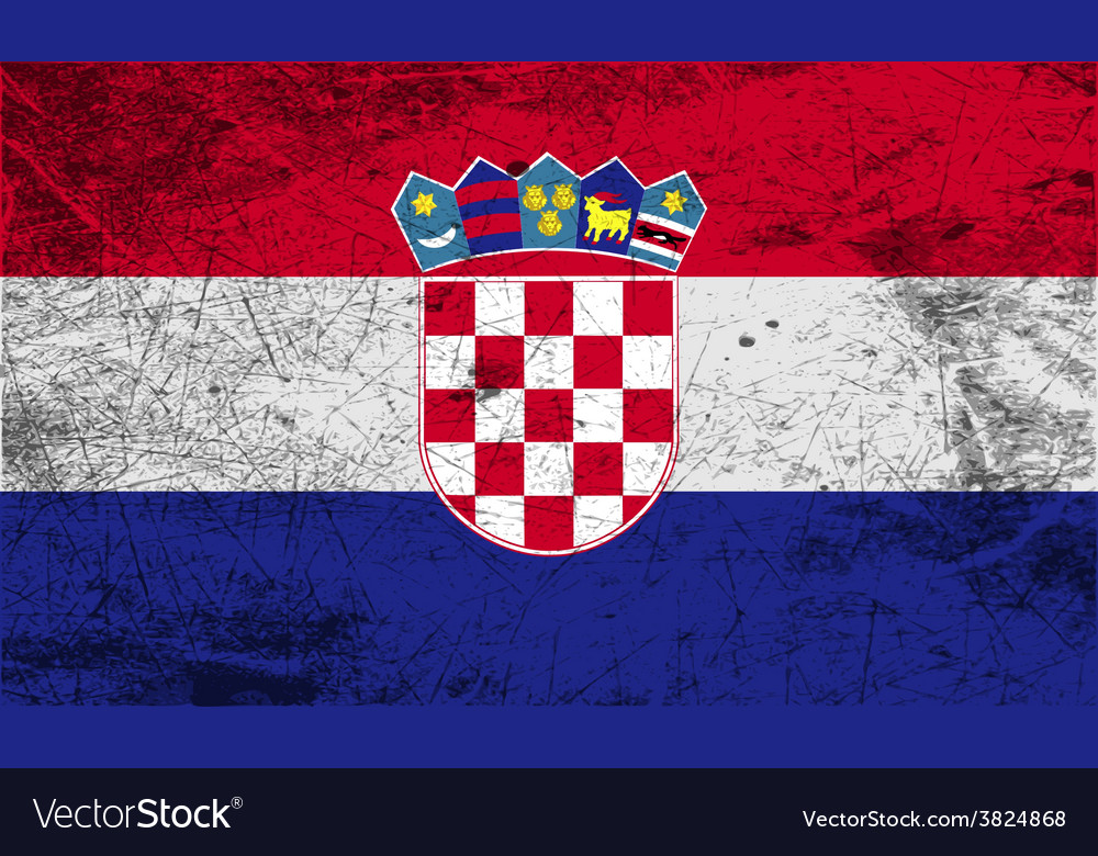 Flag of croatia with old texture vector | Price: 1 Credit (USD $1)