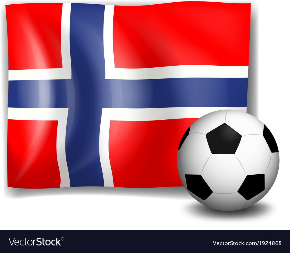 The flag of norway with a soccer ball vector | Price: 1 Credit (USD $1)