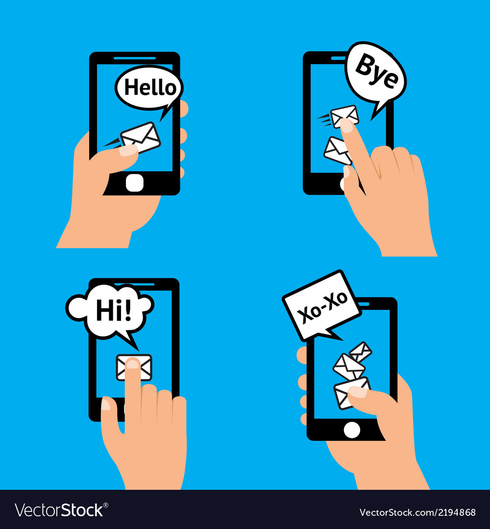 Hand smartphone message vector | Price: 1 Credit (USD $1)