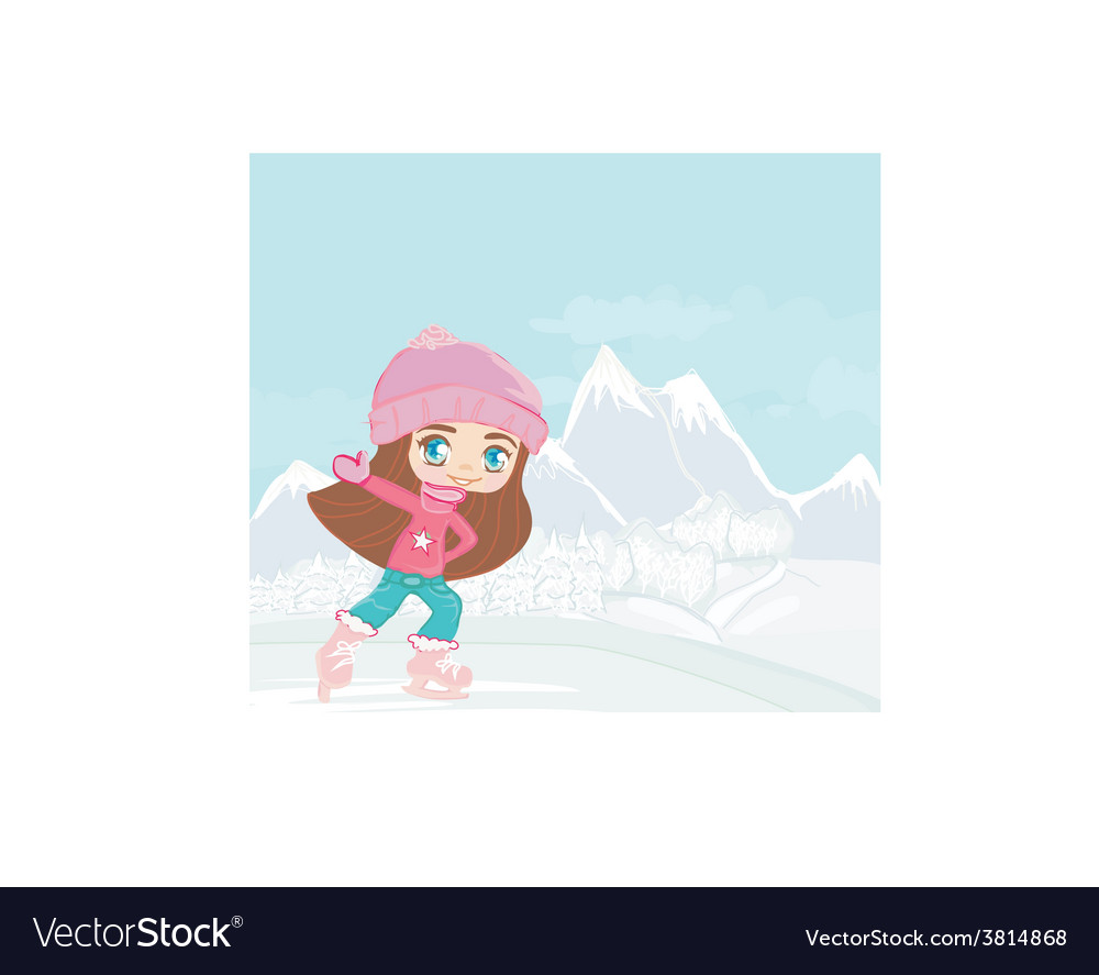Happy little girl on skates on winter landscape vector | Price: 1 Credit (USD $1)