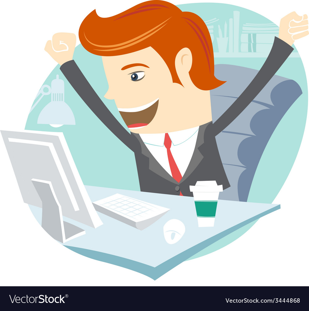 Happy office man sitting at his working desk vector | Price: 1 Credit (USD $1)