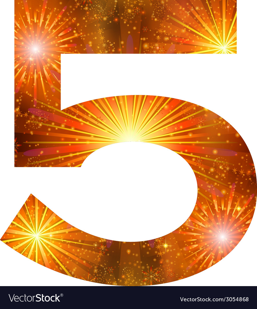 Number of orange firework five vector | Price: 1 Credit (USD $1)