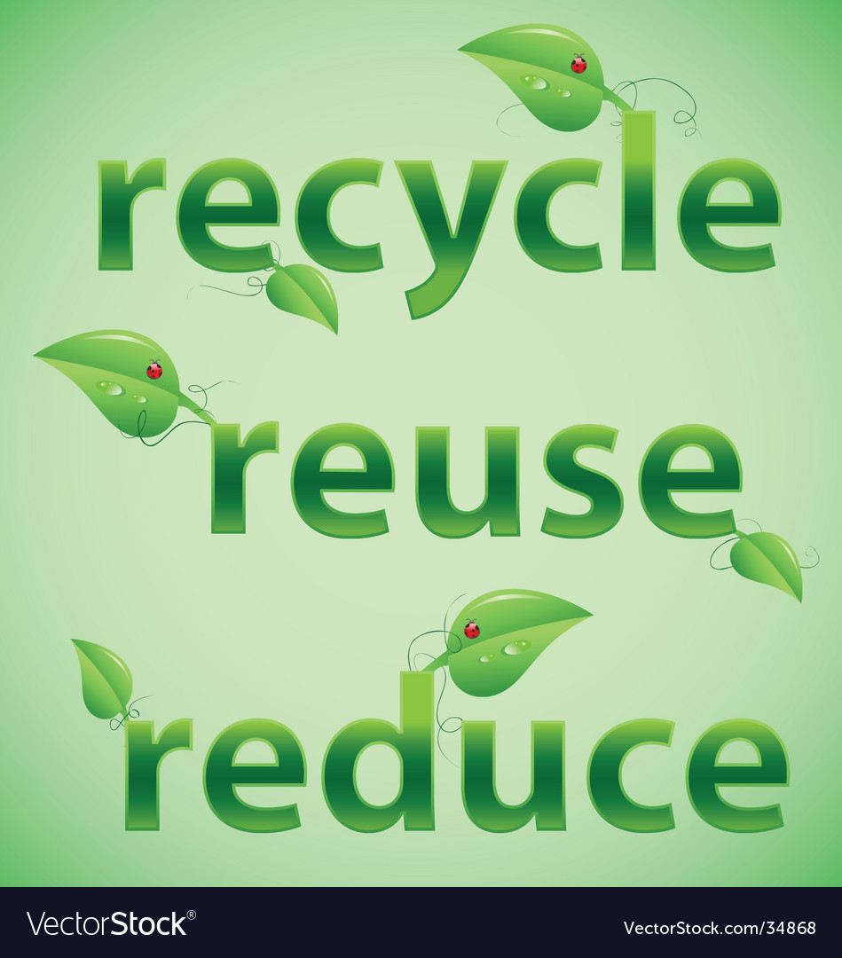 Recycle reuse reduce leafy font vector | Price: 1 Credit (USD $1)