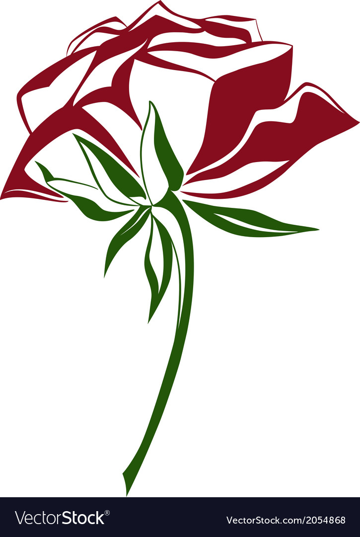 Red and green shade rose vector | Price: 1 Credit (USD $1)