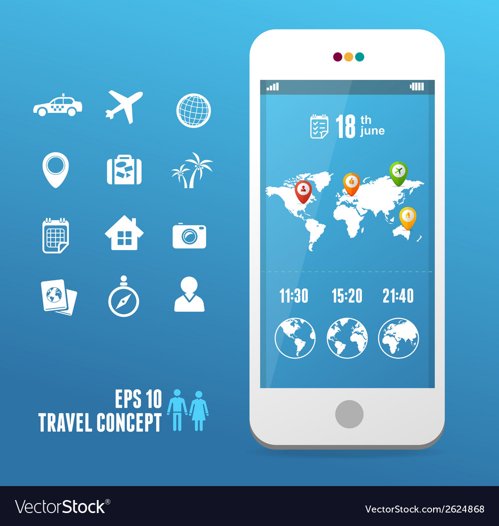 Smartphone with mobile map travel set vector | Price: 1 Credit (USD $1)